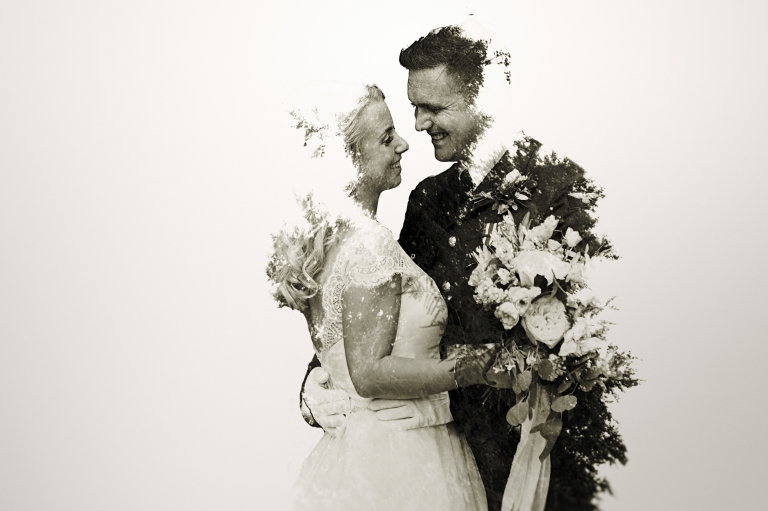 double exposure portrait wedding photograph of bride and groom at Irnham Hall wedding