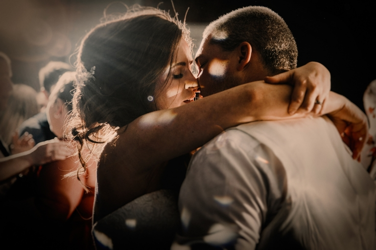 Photography of Bride and Groom first dance at Norwood Park wedding