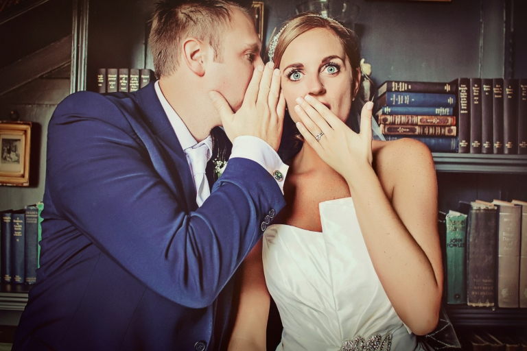Quirky photography of bride and groom at Stubton Hall wedding