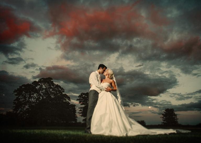 Stubton Hall wedding photographer sunset wedding photograph