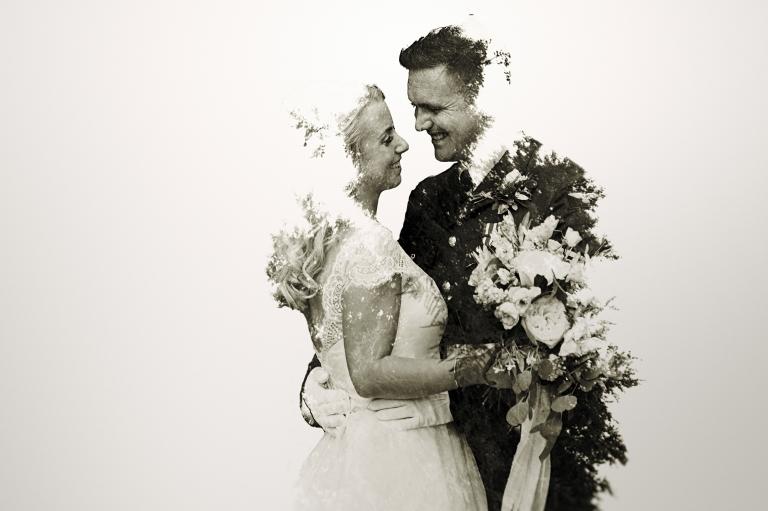 double exposure portrait wedding photograph of bride and groom at Irnham Hall wedding